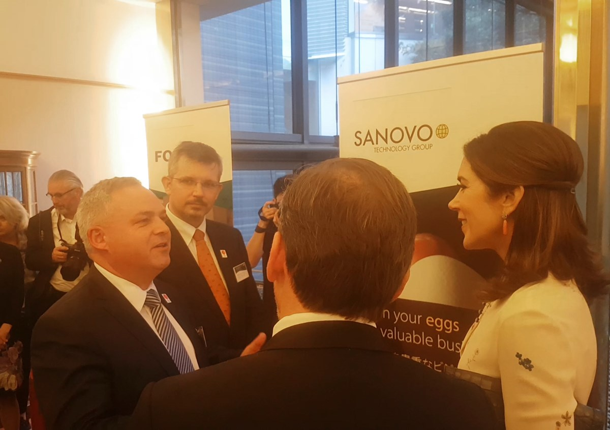 HKH the Crown Princess of Denmark speaking to Michael Midskov, CEO of SANOVO TECHNOLOGY GROUP